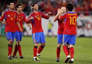 Spain's players (L to R) midfielder Serg
